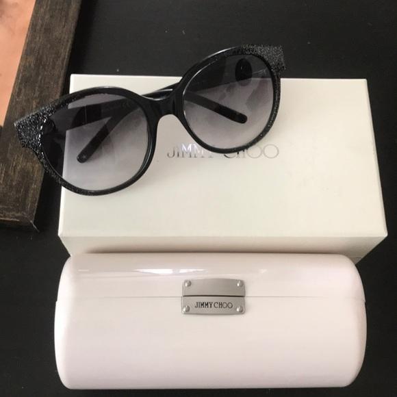 5aa368faf7b9 Jimmy Choo Accessories   Black With Silver Glitter Sunglasses   Poshmark